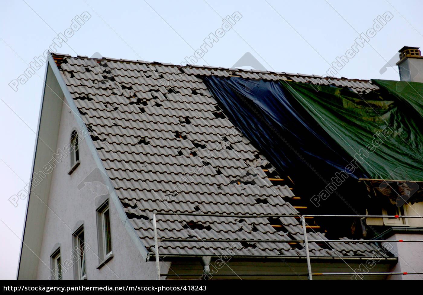 dach, vom, hagel, beschädigt - 418243