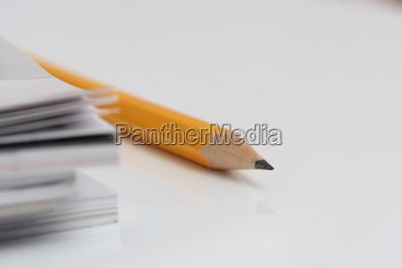 pencil on white desk