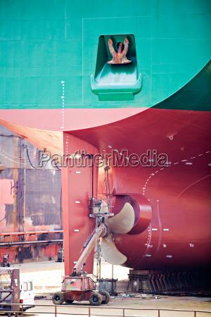ship repairs in dry dock