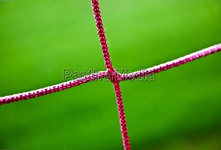 red soccer net string closeup