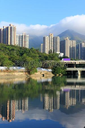 hong kong pubilc housing and river