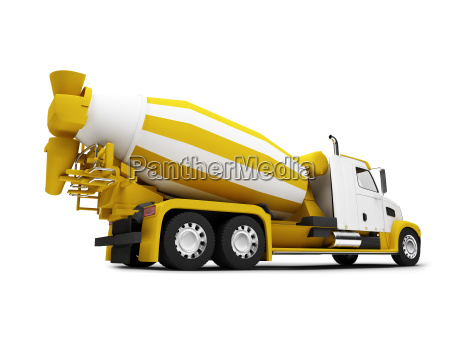 concrete mixer isolated back view with