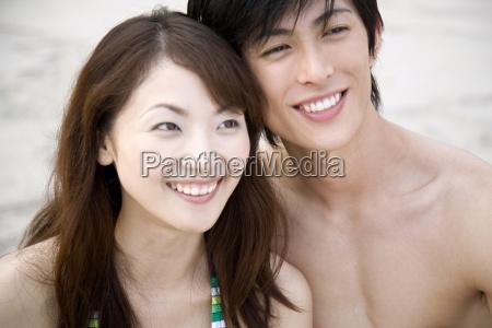 smiling japanese couple