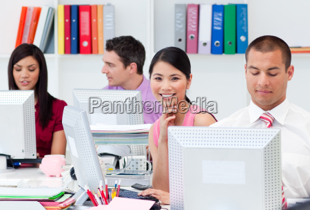 international business people working at computers