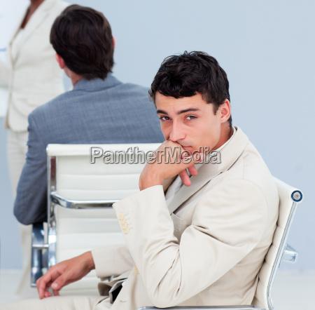 close up of a bored businessman