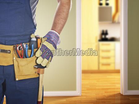 handwerker bereit fuer die arbeit