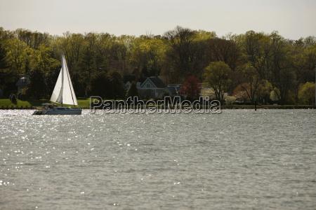 sailboat in a river