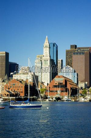 sailboats in the river boston harbor