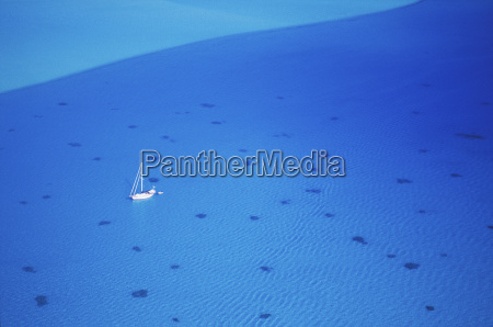 aerial view of a boat in