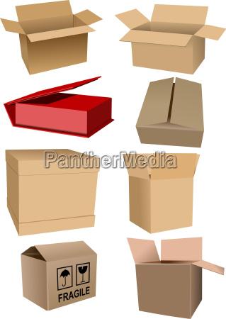 grosse reihe von kartonverpackungen boxen einen