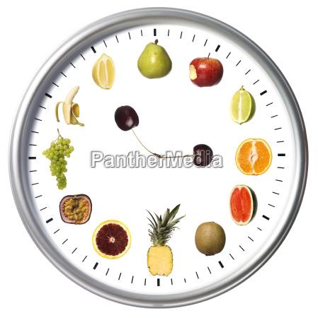fruit clock isolated on white