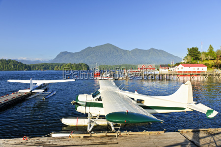 sea planes at dock in tofino