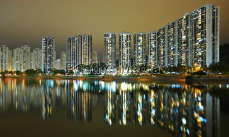 hong kong public housing and river