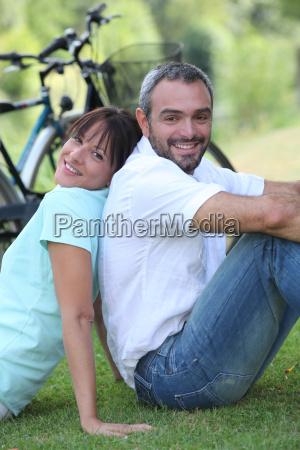 couple having a bike ride in
