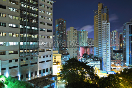 hong kong with crowded buildings at