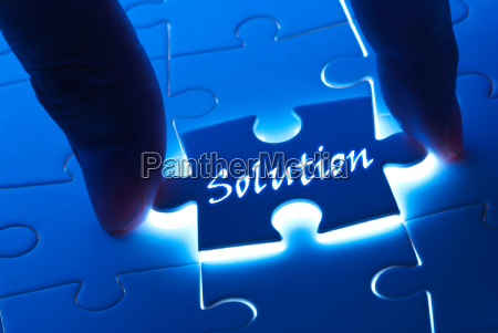 solution word on puzzle piece