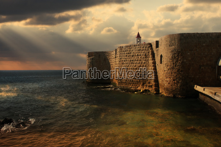 view on mediterranean sea and ancient