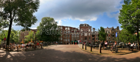 panoramic cityscape view of amsterdam netherlands