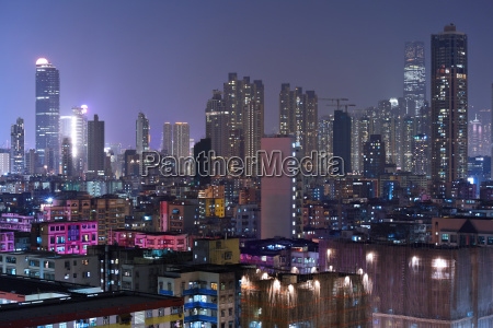building at night in hong kong