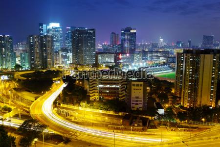 night in hong kong downtown