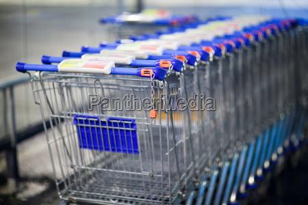 supermarket trolleys shallow dof