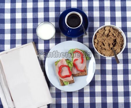 breakfast on a checked cloth