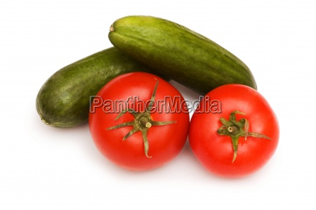 tomatoes and cucumbers isolated on the