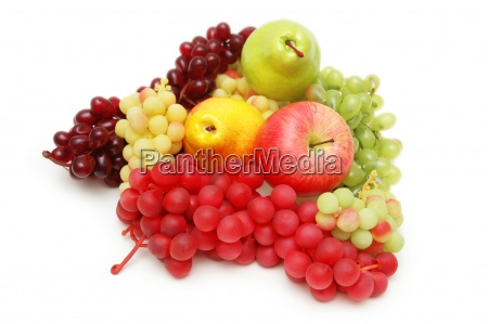 various fruits isolated on the white