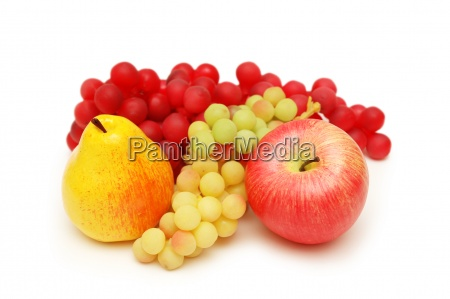 peach apple and grapes isolated on