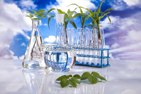 laboratory on blue sky background