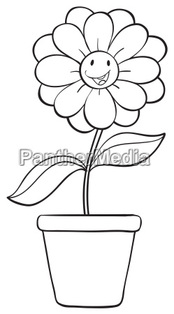 a flower and a pot sketch