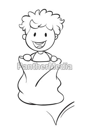 a boy in a sack