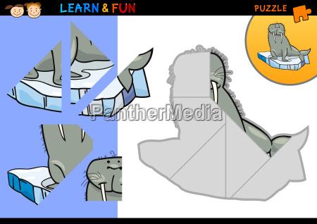 cartoon walrus puzzle game