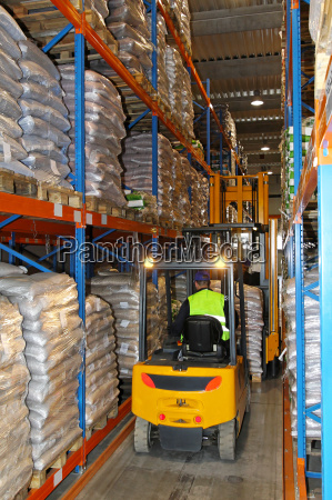 forklift in row