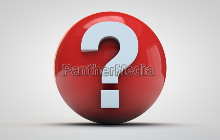 question mark on a red sphere