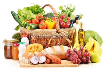 assorted grocery products isolated on white