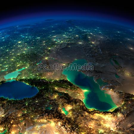 night earth caucasus and the caspian