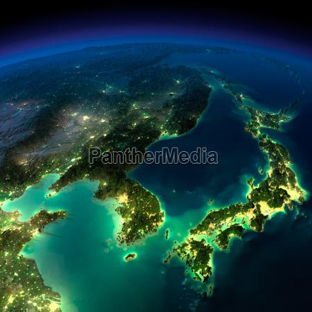 nachterde., ein, stück, asien, -, korea, japan, china - 9140324