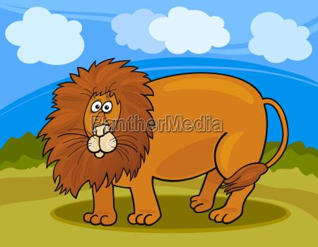 wild lion cartoon illustration