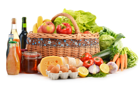 composition with assorted grocery products isolated