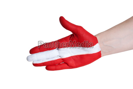 a hand painted in red and