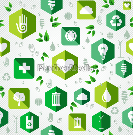 green flat icons seamless pattern