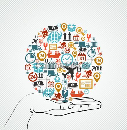 menschliche hand global bunte versand icons