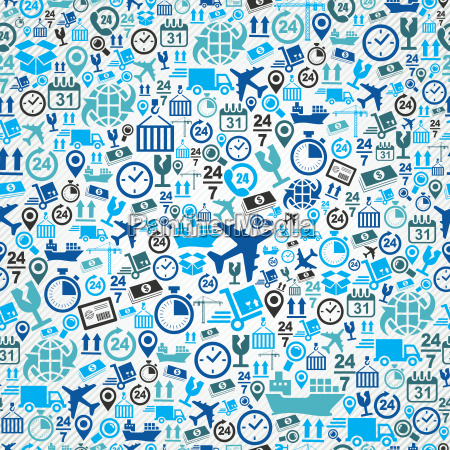 shipping logistic seamless pattern blue icon