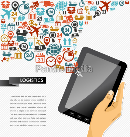 shipping icons composition human hand tablet
