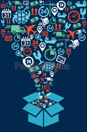 shipping box web icons splash illustration