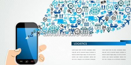 versandlogistik mobil menschliche hand icons spritzen