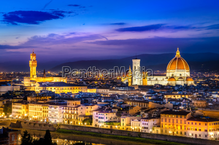 scenic view of florence at night