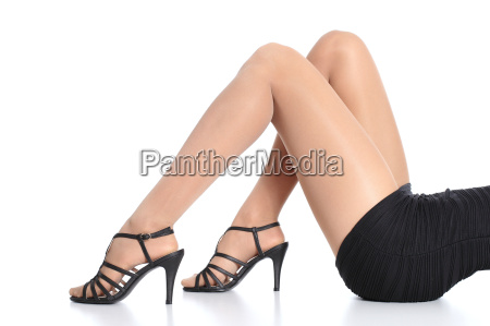 woman legs with stockings and heels