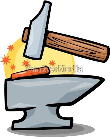 hammer und amboss clip art karikatur